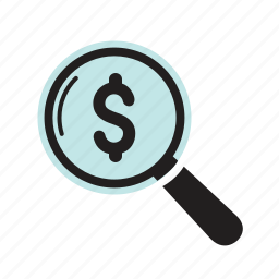 currency, finance, money, search icon