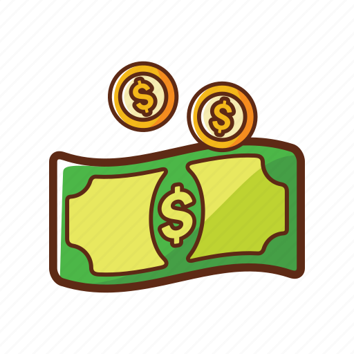 coin, dollar, finance, gold, green, money, paper icon