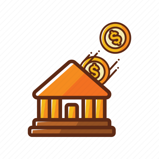 bank, building, finance, loan, pay, safe, save icon