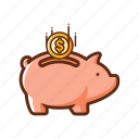 bank, coin, finance, pig, piggy bank, safe, save icon