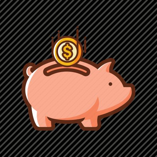 bank, coin, finance, guardar, pig, piggy bank, safe, save icon