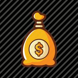 bunch, dollar, finance, gold, loan, money, save icon