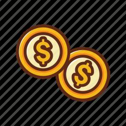 circle, coin, dollar, finance, gold, money icon