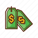dollar, finance, green, money, price tag, tag icon