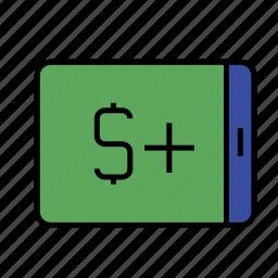 account replenishment, business, cash, dollar, finance, money, phone icon