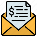 bill, communication, email, envelope, finance, invoice, mail