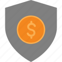 cash, currency, finance, money, shield icon