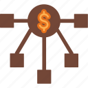 affiliate, business, cash, currency, finance, money, network icon