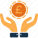 cash, coin, currency, euro, finance, hands, money icon