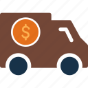 cash, currency, delivery, finance, money, truck icon