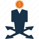 cash, currency, decision, finance, making, money icon