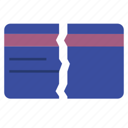 broken card, card, credit, finance, marketing, money, payment icon