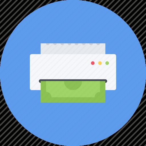 business, businessman, economy, finance, money, printing icon