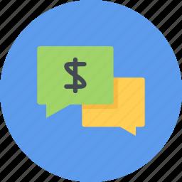 business, businessman, economy, finance, money, talk icon