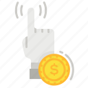 coin, dollar, pay per click, point