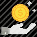 coin, hand, income, profit icon