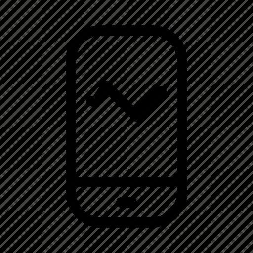 cash, chart, exchequer, finance, line, money, smartphone icon