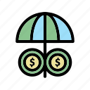 coin, finance, money, umbrella