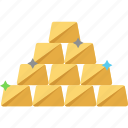 gold ingots, gold bars, gold bricks, gold reserve, gold pile icon
