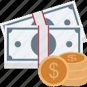 banknotes, cash, dollar coins, finance, money icon