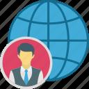global, global business, international businessman, user icon