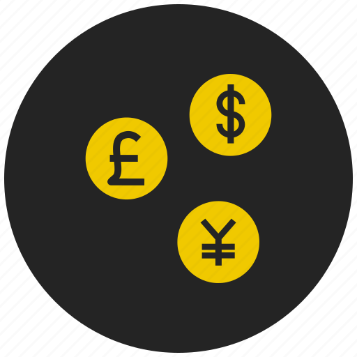 american dollar, currency conversion, dollar, euro, japanese yen, money exchange, yen icon