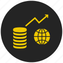 curremcy, economics, finance, global market, international business, money, share market icon