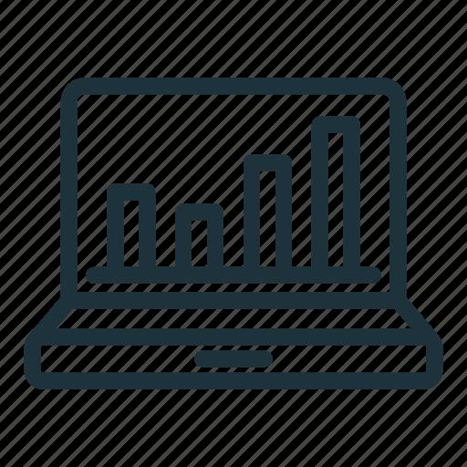 chart, finance, graph, laptop, report, statistics, stats icon