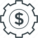 business concept, cogwheel dollar sign, dollar among cog, dollar under cog, economy icon