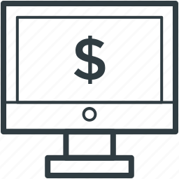 dollar sign, monitor screen, online advertising, online business, online marketing icon
