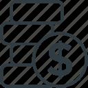 currency, dollar coin, dollar sign, financial, money