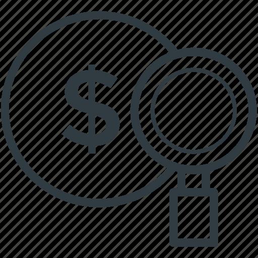 dollar, magnifying, search, search dollar, usd dollar icon