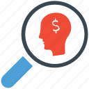 businessman, magnifying, research, search icon
