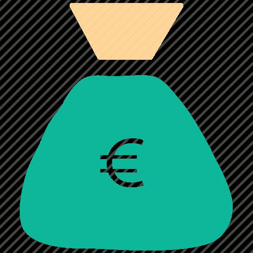 euro sign, money bag, pouch, sack icon