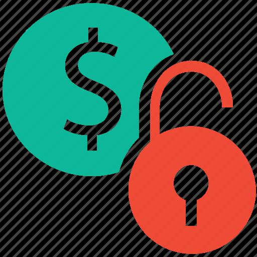 business, finance, money, unlock icon