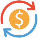 dollars, finance, financial, refresh icon