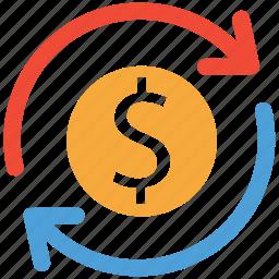 dollars, finance, financial, refresh icon