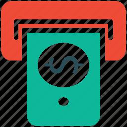 atm, cash, dollar, withdrawal icon