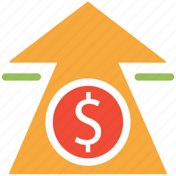 dollar, finance, up arrow, value icon