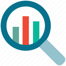 analytics, magnifying, report, statistic icon