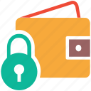cash, lock sign, safe, wallet icon