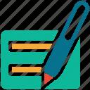 edit, pen, receipt, write icon