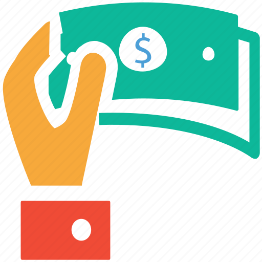 customer, dollars, giving money, shopping icon