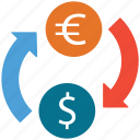 currency converter, currency exchange, dollar, euro icon