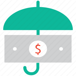 currency, insurance, protection, umbrella with dollar icon
