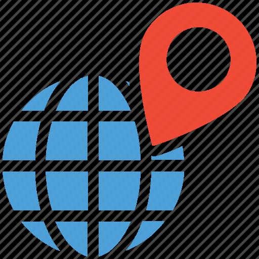 destination, globe, location, map icon
