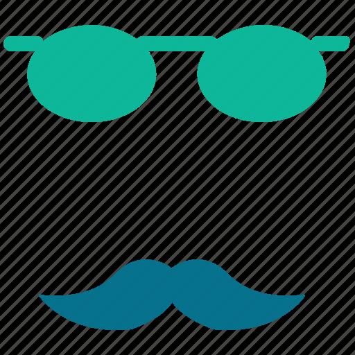 eyeglasses, mask, mustache, theater icon