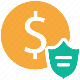 bank, dollar, protected money, protection icon