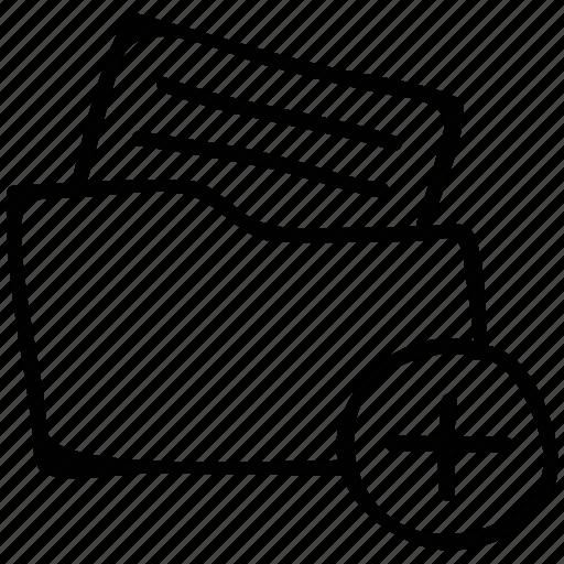 add, document, folder, new file icon