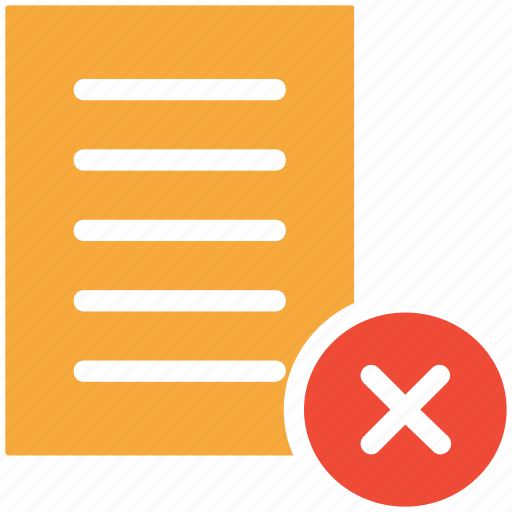 cross sign, delete, document, sheet icon